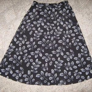 Black White Floral Flare Petite Long Skirt 14P